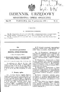 Dziennik Urzędowy Ministerstwa Opieki Społecznej : 1938, nr 21