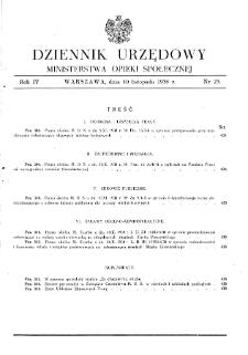 Dziennik Urzędowy Ministerstwa Opieki Społecznej : 1938, nr 23