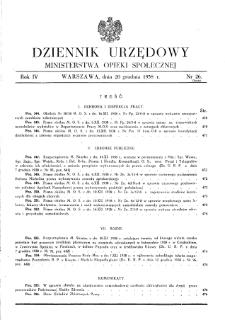 Dziennik Urzędowy Ministerstwa Opieki Społecznej : 1938, nr 26
