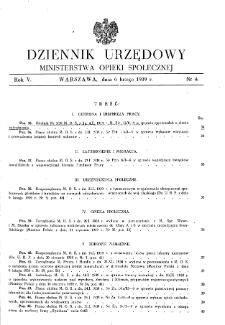 Dziennik Urzędowy Ministerstwa Opieki Społecznej : 1939, nr 4
