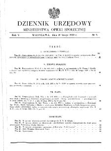 Dziennik Urzędowy Ministerstwa Opieki Społecznej : 1939, nr 5