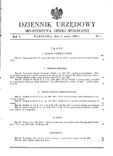 Dziennik Urzędowy Ministerstwa Opieki Społecznej : 1939, nr 7