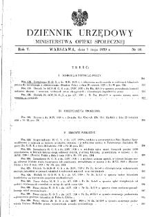 Dziennik Urzędowy Ministerstwa Opieki Społecznej : 1939, nr 10