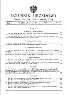 Dziennik Urzędowy Ministerstwa Opieki Społecznej : 1939, nr 12