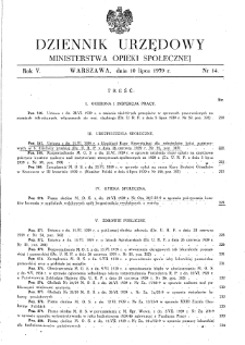 Dziennik Urzędowy Ministerstwa Opieki Społecznej : 1939, nr 14