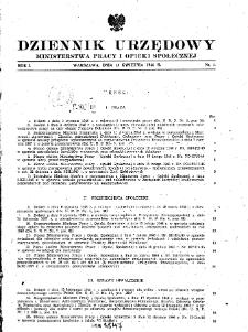 Dziennik Urzędowy Ministerstwa Pracy i Opieki Społecznej : 1946, nr 1