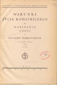 Warunki życia robotniczego w Warszawie, Łodzi i Zagłębiu Dąbrowskim w świetle ankiet 1927 roku