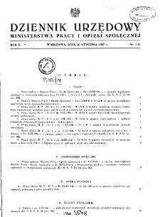 Dziennik Urzędowy Ministerstwa Pracy i Opieki Społecznej : 1947, nr 1