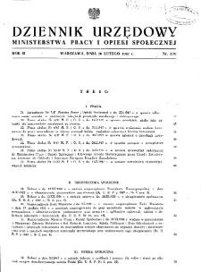 Dziennik Urzędowy Ministerstwa Pracy i Opieki Społecznej : 1947, nr 2