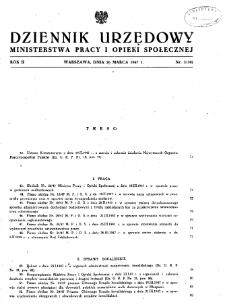 Dziennik Urzędowy Ministerstwa Pracy i Opieki Społecznej : 1947, nr 3