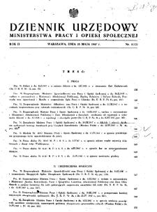Dziennik Urzędowy Ministerstwa Pracy i Opieki Społecznej : 1947, nr 5