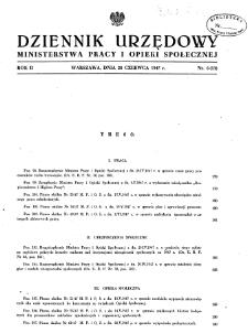Dziennik Urzędowy Ministerstwa Pracy i Opieki Społecznej : 1947, nr 6