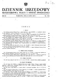 Dziennik Urzędowy Ministerstwa Pracy i Opieki Społecznej : 1947, nr 7