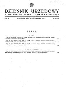Dziennik Urzędowy Ministerstwa Pracy i Opieki Społecznej : 1947, nr 10