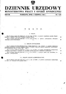 Dziennik Urzędowy Ministerstwa Pracy i Opieki Społecznej : 1948, nr 7