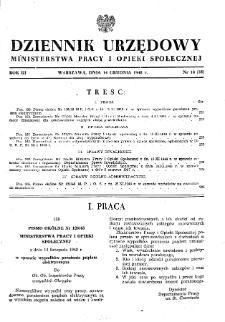 Dziennik Urzędowy Ministerstwa Pracy i Opieki Społecznej : 1948, nr 18