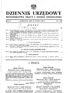 Dziennik Urzędowy Ministerstwa Pracy i Opieki Społecznej : 1949, nr 1
