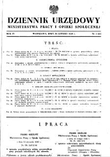 Dziennik Urzędowy Ministerstwa Pracy i Opieki Społecznej : 1949, nr 2