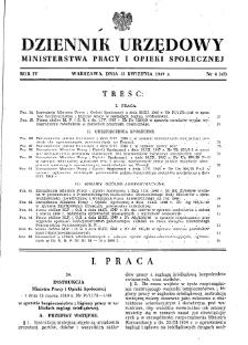 Dziennik Urzędowy Ministerstwa Pracy i Opieki Społecznej : 1949, nr 4