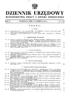 Dziennik Urzędowy Ministerstwa Pracy i Opieki Społecznej : 1949, nr 7
