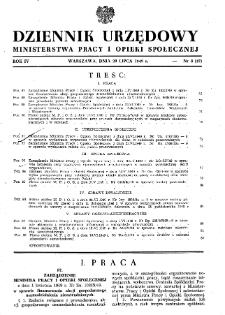 Dziennik Urzędowy Ministerstwa Pracy i Opieki Społecznej : 1949, nr 8