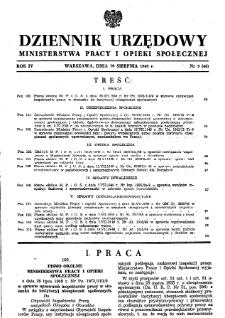 Dziennik Urzędowy Ministerstwa Pracy i Opieki Społecznej : 1949, nr 9