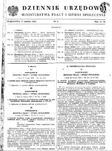 Dziennik Urzędowy Ministerstwa Pracy i Opieki Społecznej : 1950, nr 4