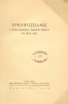 Sprawozdanie z działalności sądów pracy za rok 1929