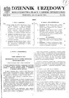 Dziennik Urzędowy Ministerstwa Pracy i Opieki Społecznej : 1960, nr 1