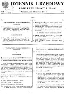 Dziennik Urzędowy Komitetu Pracy i Płac : 1961, nr 1