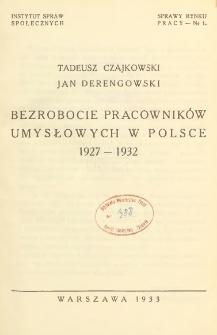 Bezrobocie pracowników umysłowych w Polsce 1927-1932