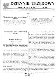 Dziennik Urzędowy Komitetu Pracy i Płac : 1969, nr 1