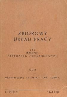 Zbiorowy układ pracy dla przemysłu przędzalń czesankowych obowiązujący od dnia 1.XII.1958 r. T. 2