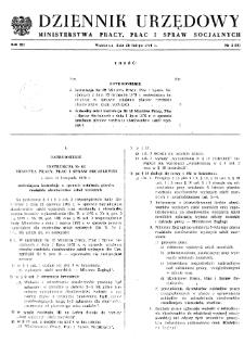 Dziennik Urzędowy Ministerstwa Pracy, Płac i Spraw Socjalnych : 1974, nr 2