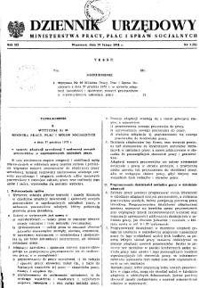 Dziennik Urzędowy Ministerstwa Pracy, Płac i Spraw Socjalnych : 1974, nr 3