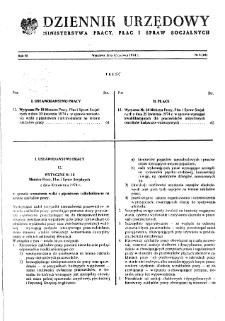 Dziennik Urzędowy Ministerstwa Pracy, Płac i Spraw Socjalnych : 1974, nr 6