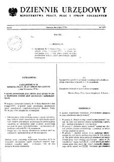 Dziennik Urzędowy Ministerstwa Pracy, Płac i Spraw Socjalnych : 1974, nr 7