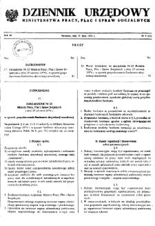 Dziennik Urzędowy Ministerstwa Pracy, Płac i Spraw Socjalnych : 1974, nr 9