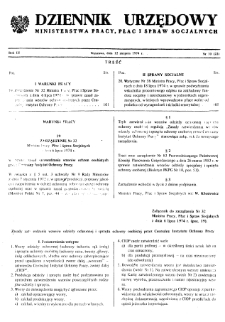 Dziennik Urzędowy Ministerstwa Pracy, Płac i Spraw Socjalnych : 1974, nr 10