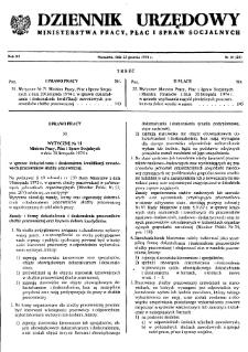 Dziennik Urzędowy Ministerstwa Pracy, Płac i Spraw Socjalnych : 1974, nr 16