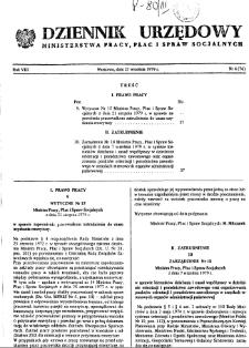 Dziennik Urzędowy Ministerstwa Pracy, Płac i Spraw Socjalnych : 1979, nr 6