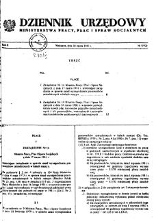 Dziennik Urzędowy Ministerstwa Pracy, Płac i Spraw Socjalnych : 1981, nr 5