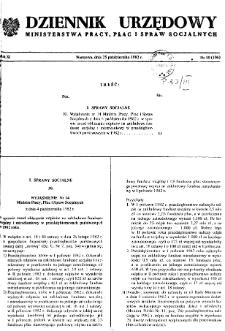 Dziennik Urzędowy Ministerstwa Pracy, Płac i Spraw Socjalnych : 1982, nr 10