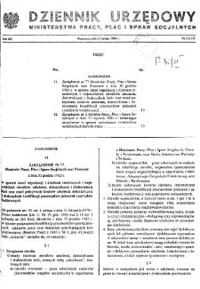 Dziennik Urzędowy Ministerstwa Pracy, Płac i Spraw Socjalnych : 1984, nr 2