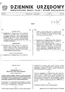 Dziennik Urzędowy Ministerstwa Pracy, Płac i Spraw Socjalnych : 1984, nr 3
