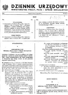 Dziennik Urzędowy Ministerstwa Pracy, Płac i Spraw Socjalnych : 1987, nr 4