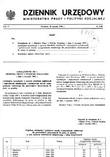 Dziennik Urzędowy Ministerstwa Pracy i Polityki Socjalnej : 1992, nr 1