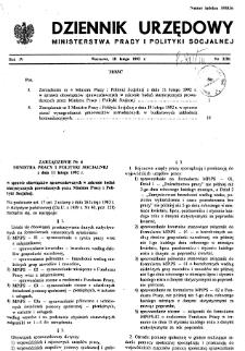 Dziennik Urzędowy Ministerstwa Pracy i Polityki Socjalnej : 1992, nr 2