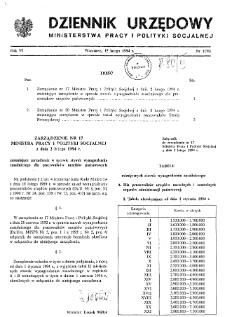 Dziennik Urzędowy Ministerstwa Pracy i Polityki Socjalnej : 1994, nr 1