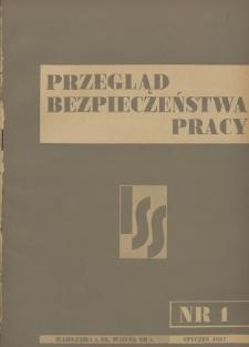 Przegląd Bezpieczeństwa Pracy : 1937, nr 1